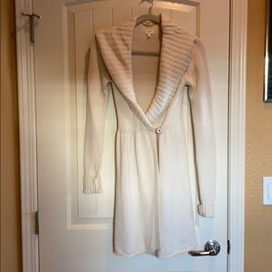 Aritzia Talula ivory wrap cashmere blend sweater